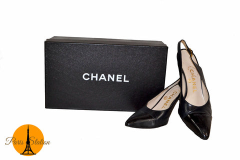 Authentic Chanel Black Leather Slingback Heels Shoes Size 35