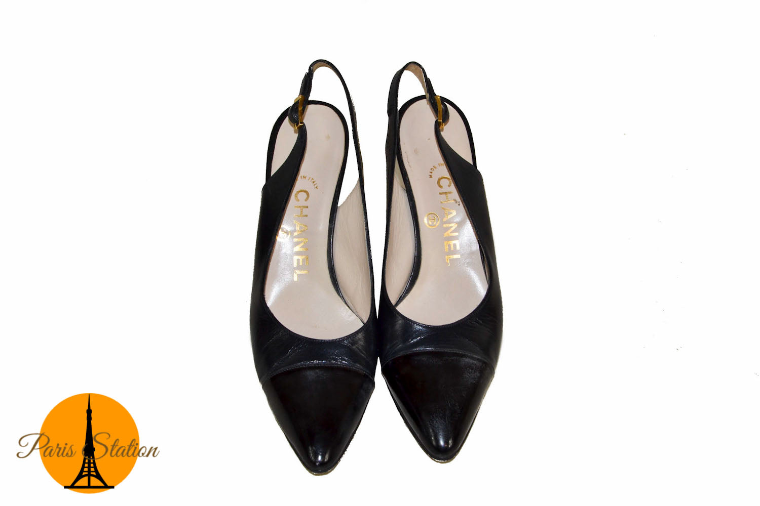 98189d03a4d Authentic Chanel Black Leather Slingback Heels Shoes Size 35