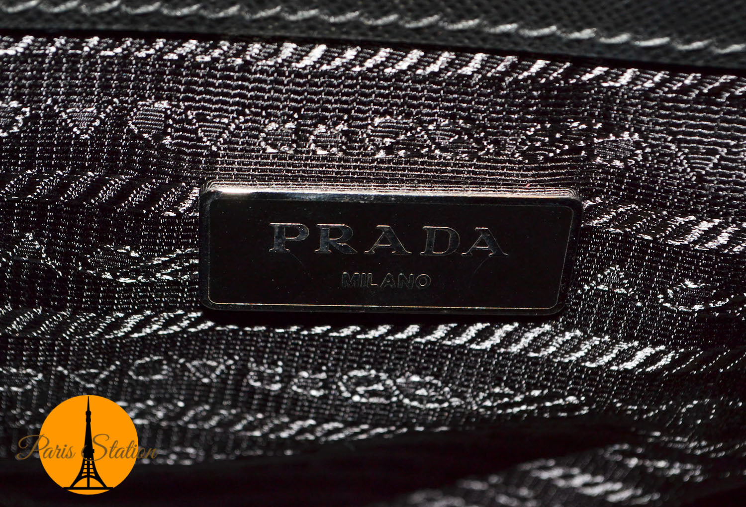 Authentic Prada Black/Green Tartan Saffiano Leather Handbag