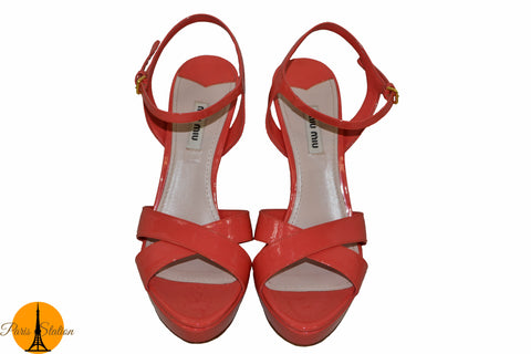 Authentic Miu Miu Patent Coral Platform Sandals Shoes Size 39