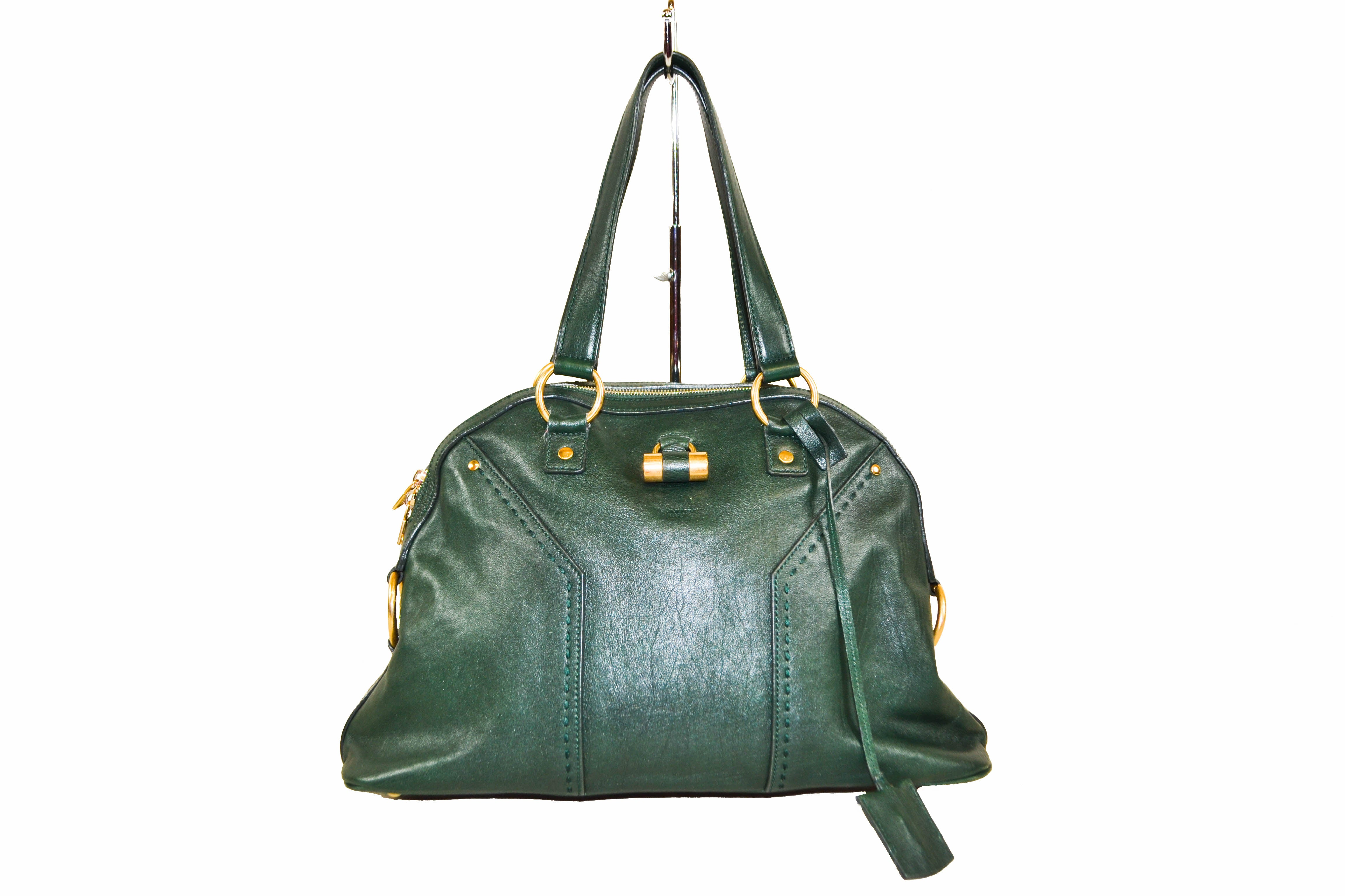 Authentic YSL Yves Saint Laurent Green Leather Muse Shoulder Bag