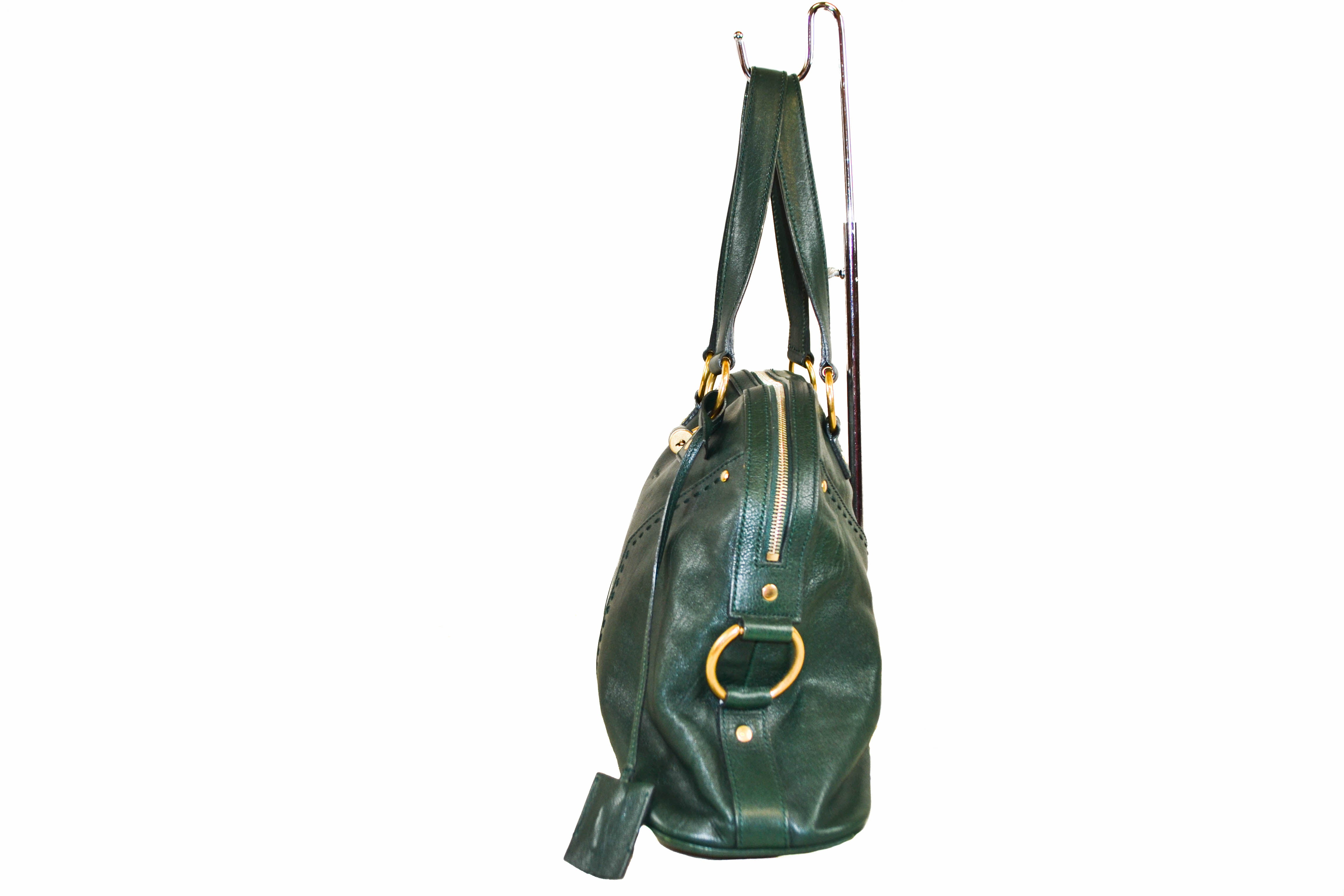 ... Authentic YSL Yves Saint Laurent Green Leather Muse Shoulder Bag ... 15a8b3aa7fba3