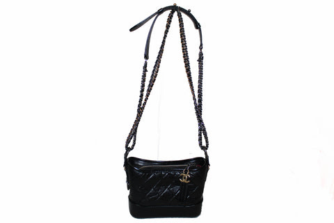Authentic Chanel Gabrielle Black Calfskin Leather Small Hobo Shoulder Bag