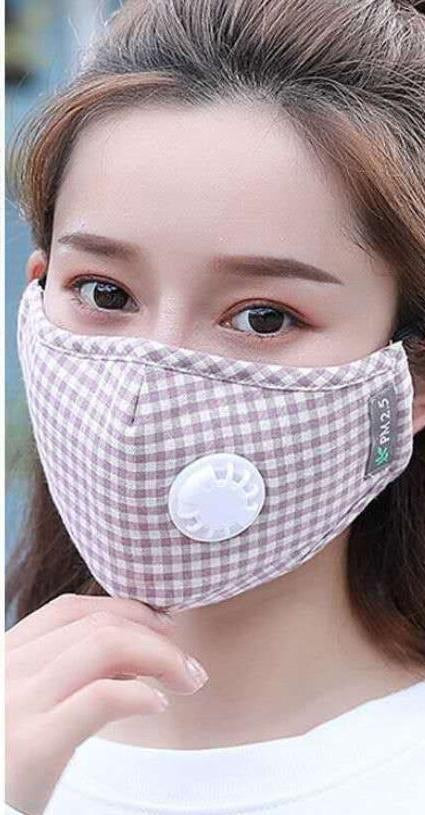 Non Medical Brown & White Plaid Light Weight & Comfortable Wear Face Mask/Covering
