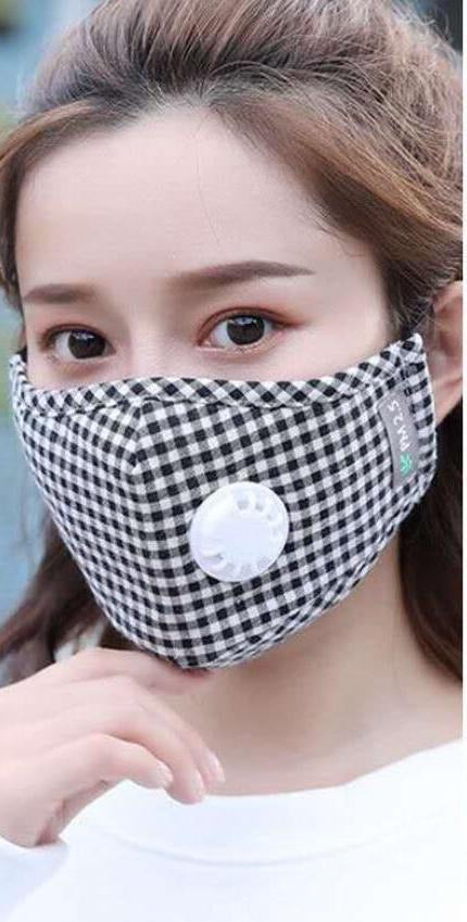 Non Medical Black & White Plaid Light Weight & Comfortable Wear Face Mask/Covering