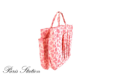 New Pink Leopard Print Canvas Small Purse Organizer