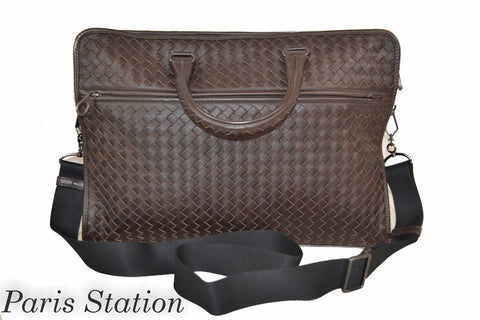 Authentic Bottega Veneta Brown Leather Intercciato Briefcase Bag