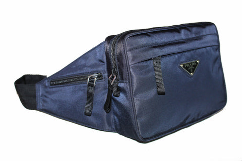Authentic New Prada Navy Blue Nylon Waist Belt Bag
