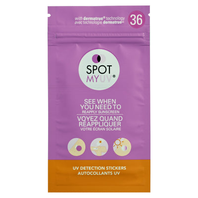SPOTMYUV 36 Spot packaging in english and french.