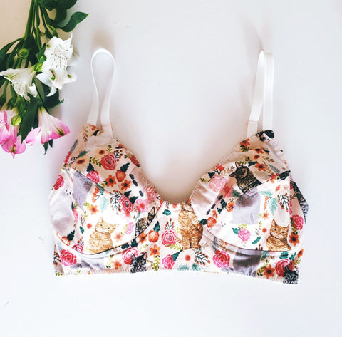 Handmade Cotton Vintage Cat Bralette - EmMeMa | Buy handmade Organic cotton bralette for her