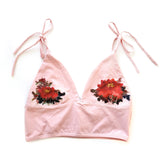 Hand Painted Peony on Dusty Pink Comfy Organic Cotton Bralette
