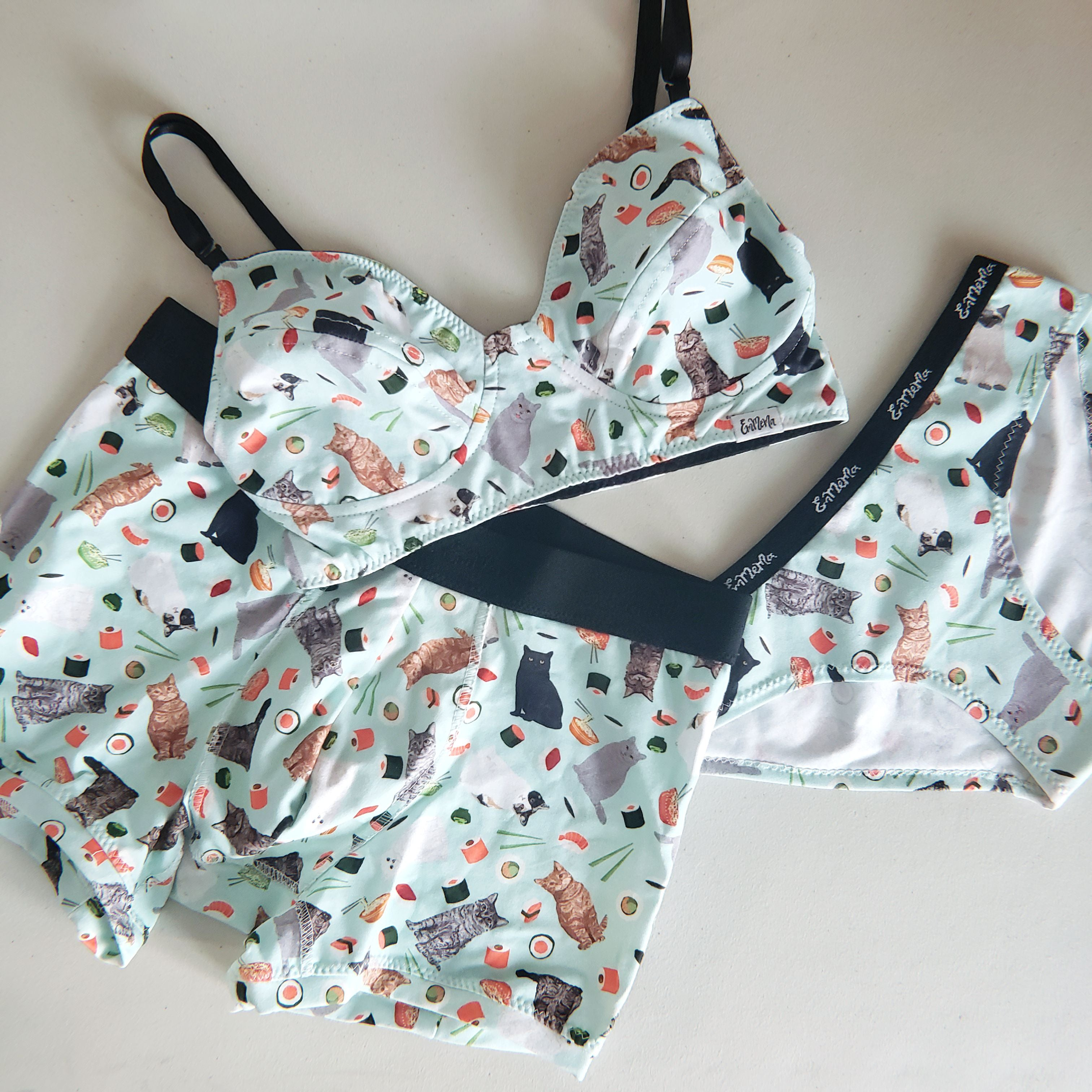 Cat and Sushi Organic Cotton Bralette/ Balconette