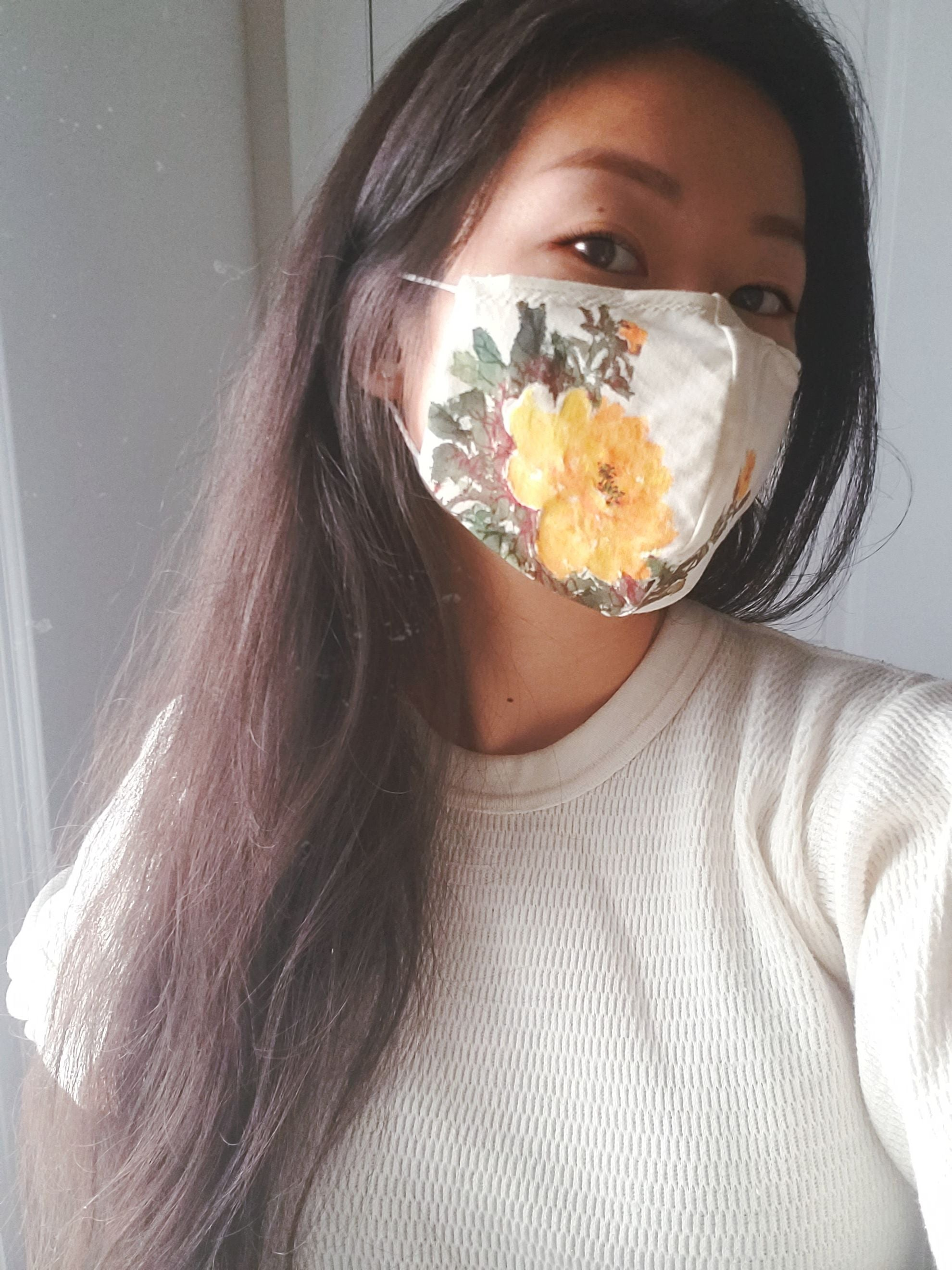 Hand painted floral Double layer fabric face mask in organic cotton/ linen blend