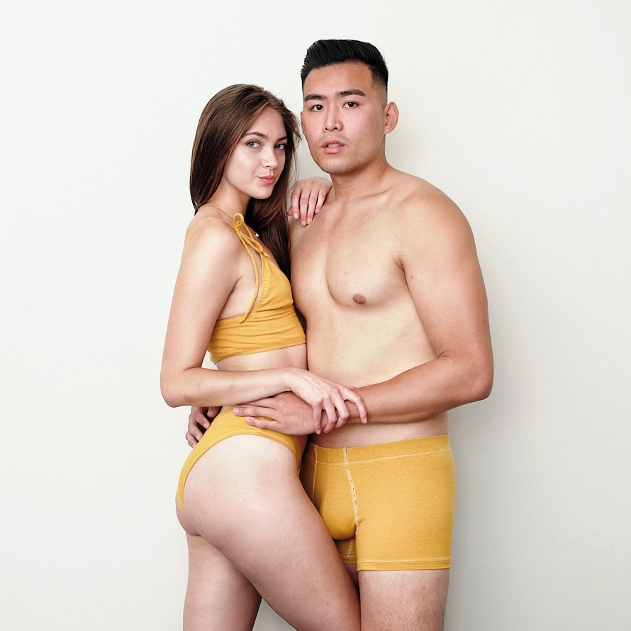 Mustard Mens Boxer Briefs in Hemp & Organic Cotton
