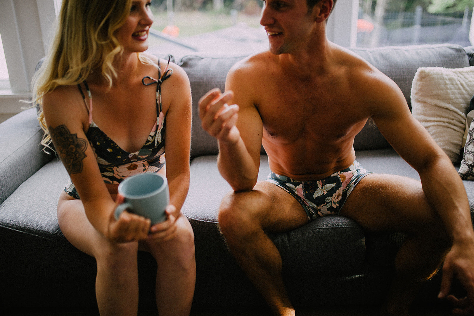 Twilight Floral Couples set underwear | EmMeMa - Buy cute handmade his and her underwear
