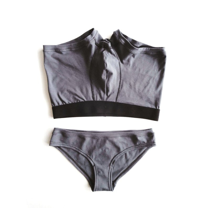 Charcoal Grey Cheekini Underwear - EmMeMa | Buy Organic cotton comfy underwear