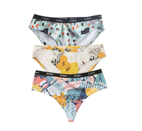 Three Pack Organic Cotton Underwear/ Thong any print