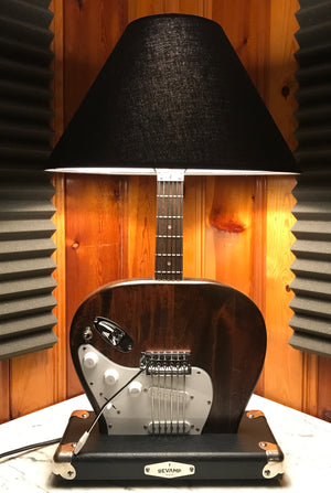 Guitar Lamp -  Strat Style Dark Wood Grain Bottoms up #045 of Collection