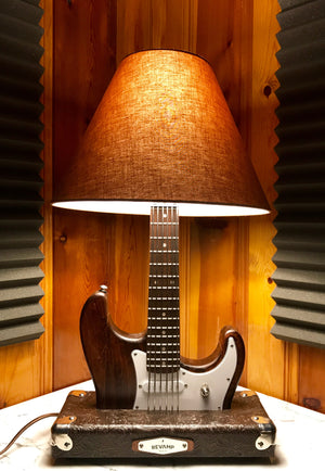 Guitar Lamp - Strat Style Dark Wood Grain #034 of Collection