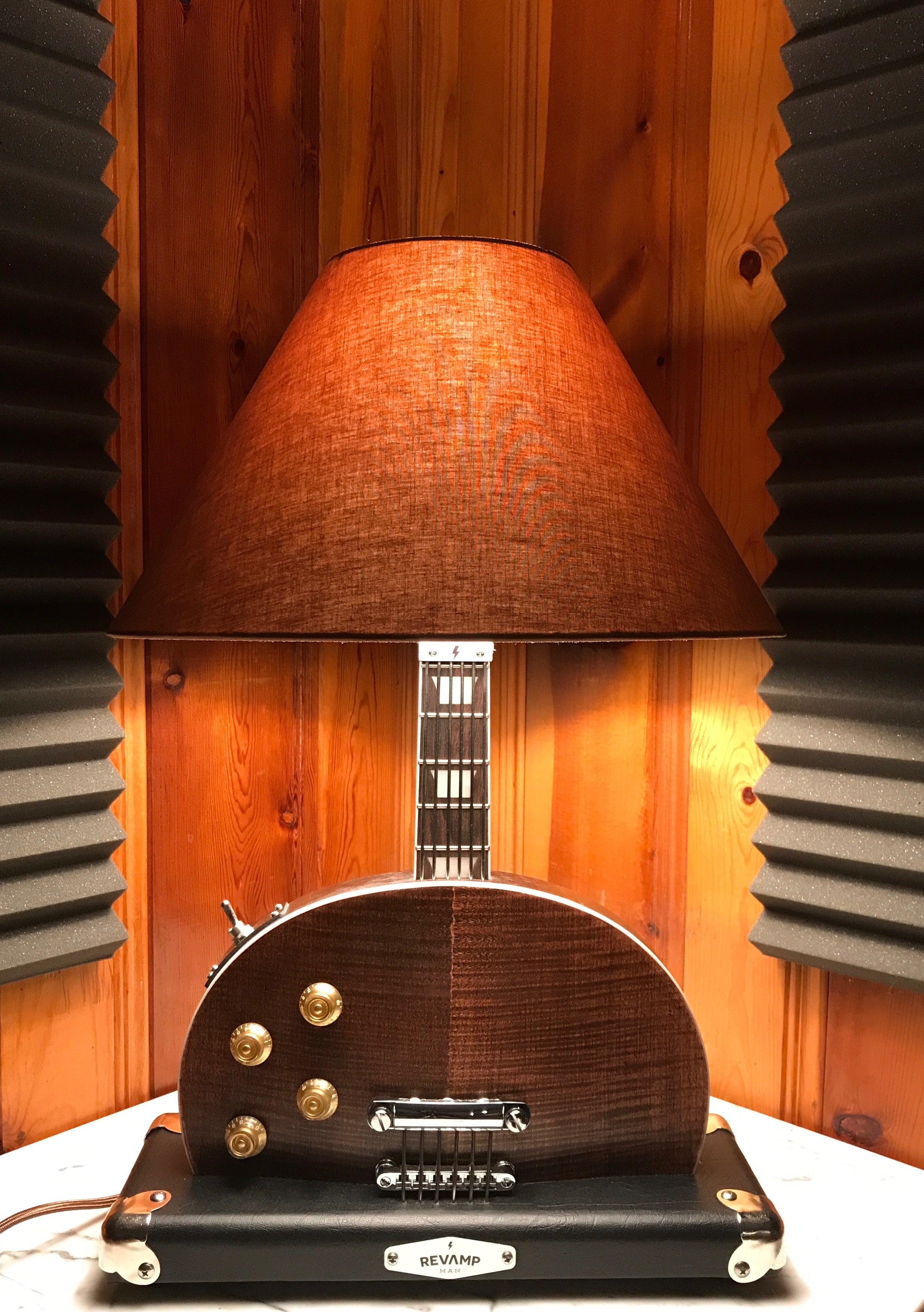 Guitar Lamp -  LP Style Bottoms Up Dark Wood # 032 of Collection