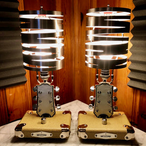 Revamp Man Guitar Lamp Head Stock LP Style Pair #073 and #074