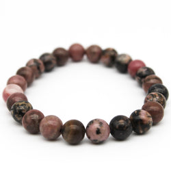 Rhodonite Beaded Bracelet - A+ Grade (BRhodn2-14 to BRhodn2-30)