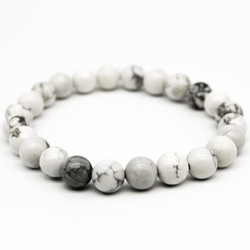 White Howlite Beaded Bracelet - A+ Grade (BWH2-14 to BWH2-30)