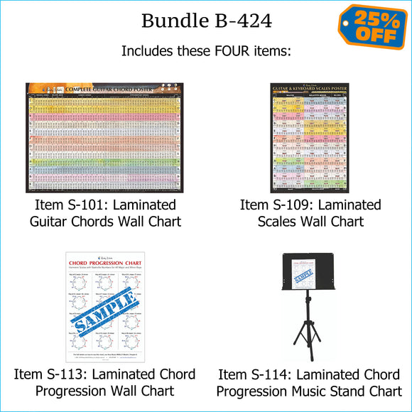 Bundle B-424: THREE Laminated Wall Posters: Complete Guitar Chords, Scales, & Chord Progressions. FREE SHIPPING – USA & Canada.