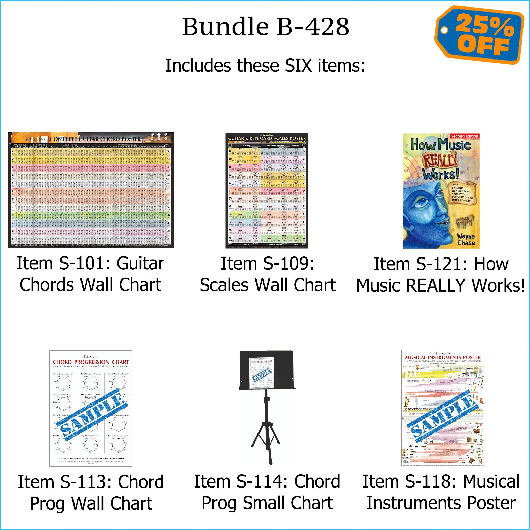 "Bundle B-428: ""How Music REALLY Works!, 2nd Edition"" Print Book + FOUR Laminated Wall Posters: Complete Guitar Chords, Scales, Chord Progressions, & Instruments. FREE SHIPPING – USA & Canada."