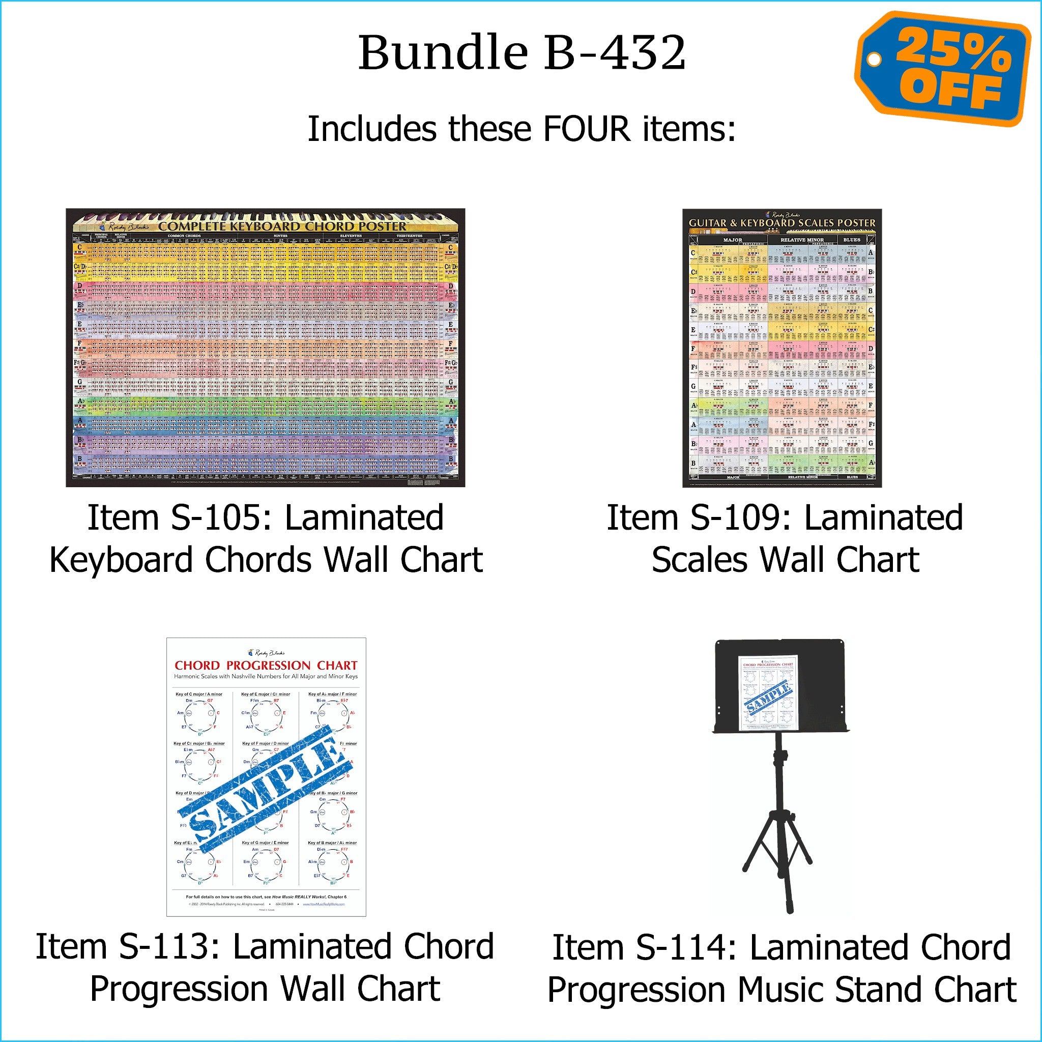 Laminated charts of piano & keyboard chords, scales, and chord progressions