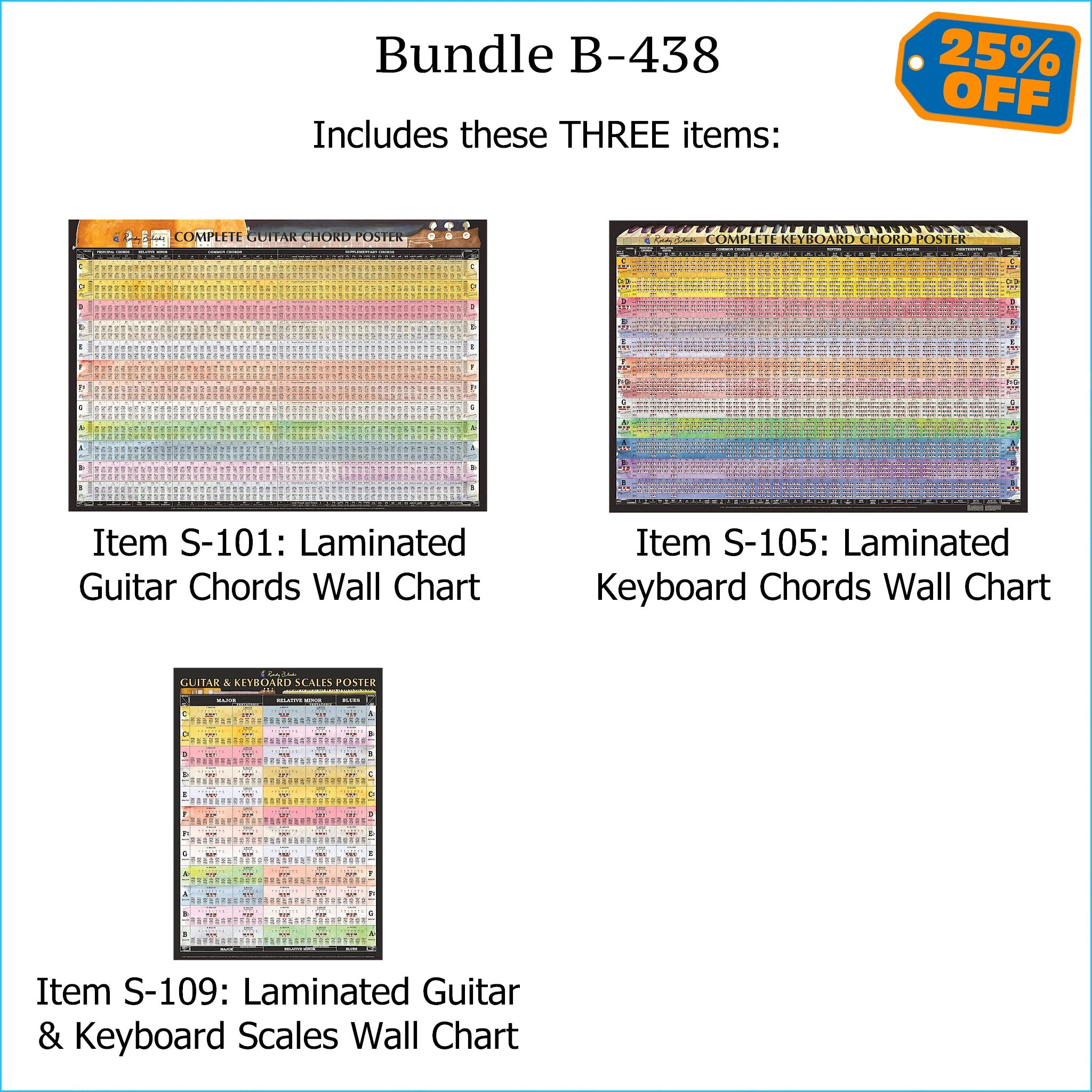 Bundle B-438: THREE Laminated Wall Posters: Complete Guitar Chords, Complete Keyboard Chords, & Scales. FREE SHIPPING – USA & Canada.