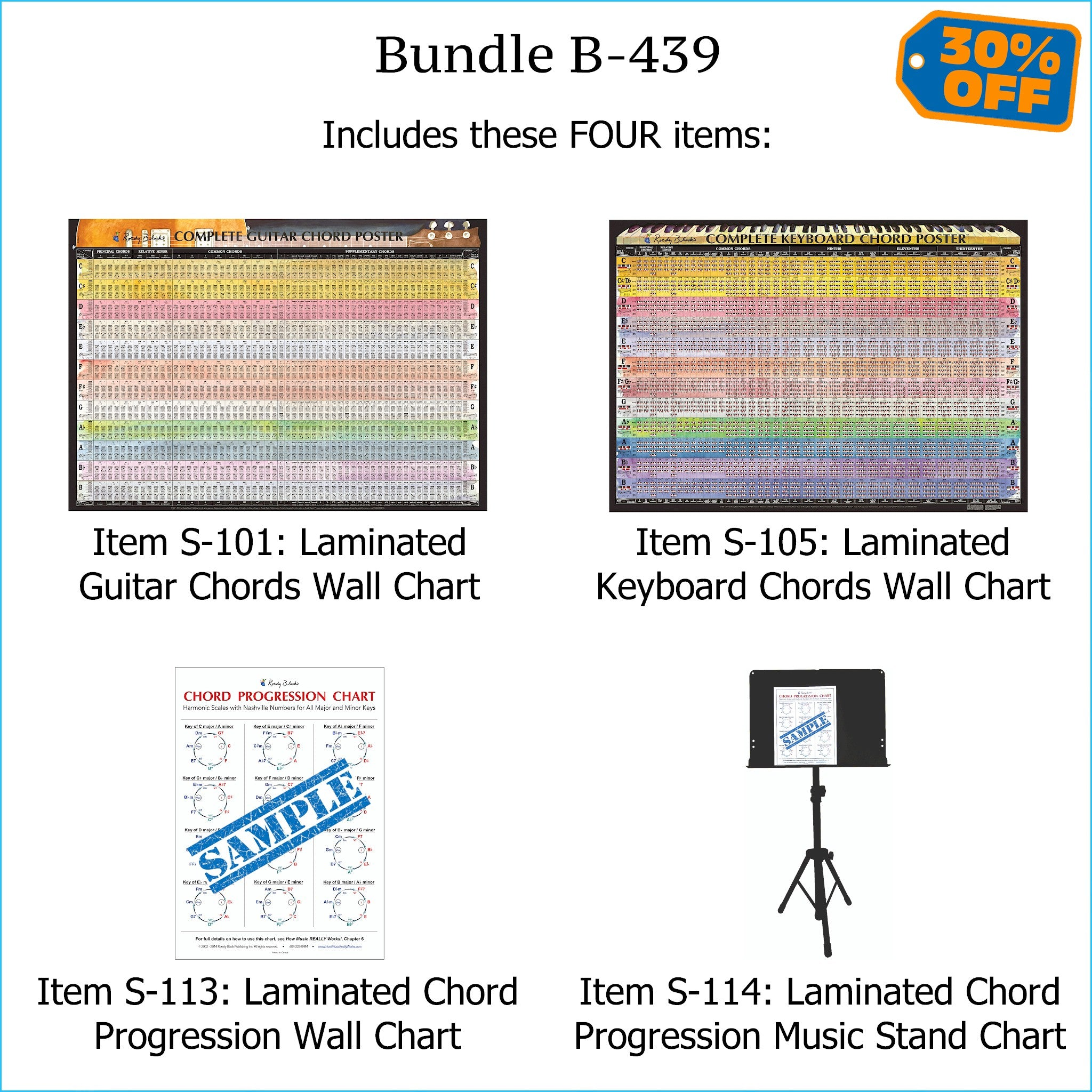 Laminated charts of piano & keyboard chords, chord progressions, and scales