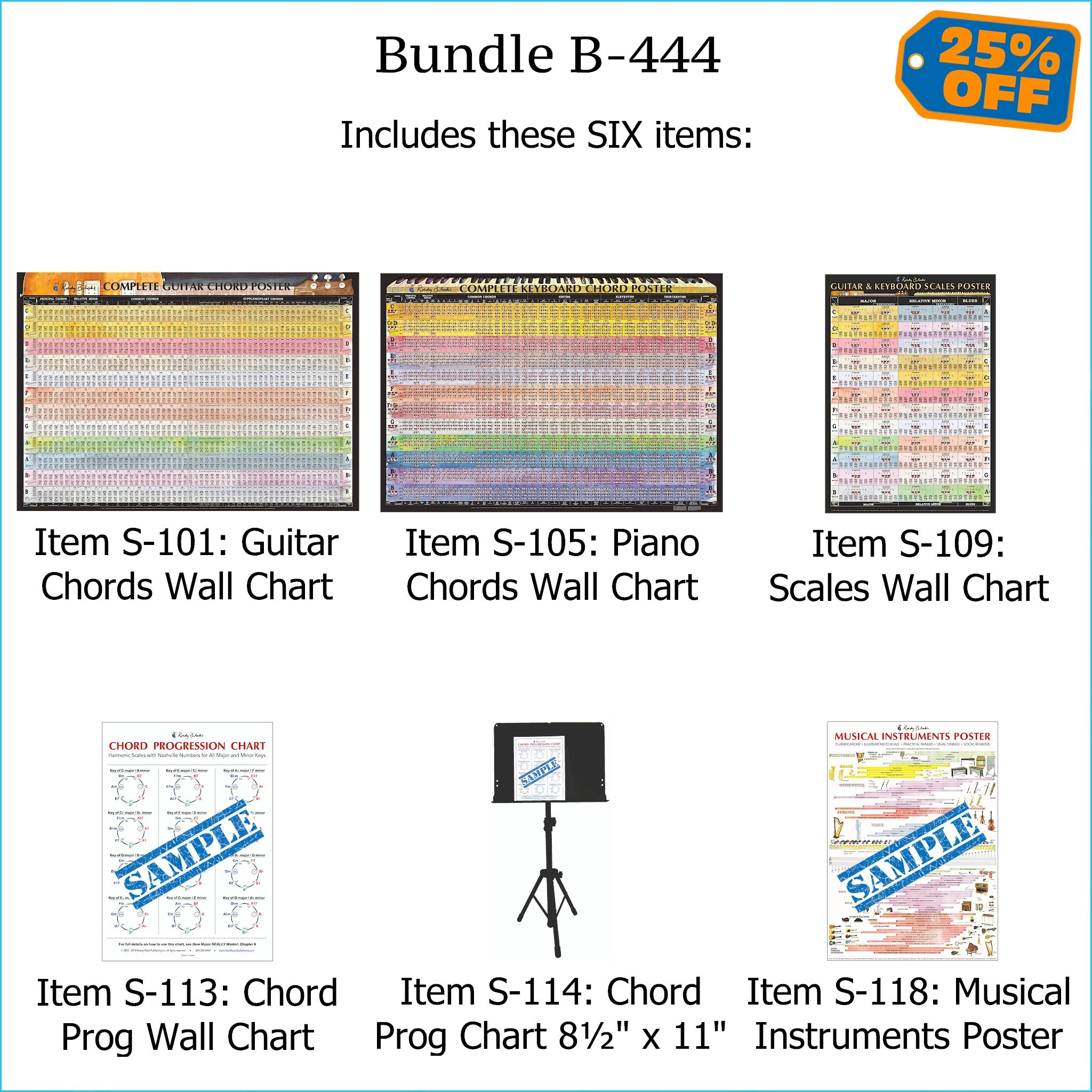 Bundle B-444: FIVE Laminated Wall Posters: Complete Guitar Chords, Complete Keyboard Chords, Scales, Chord Progressions, & Instruments. FREE SHIPPING – USA & Canada.