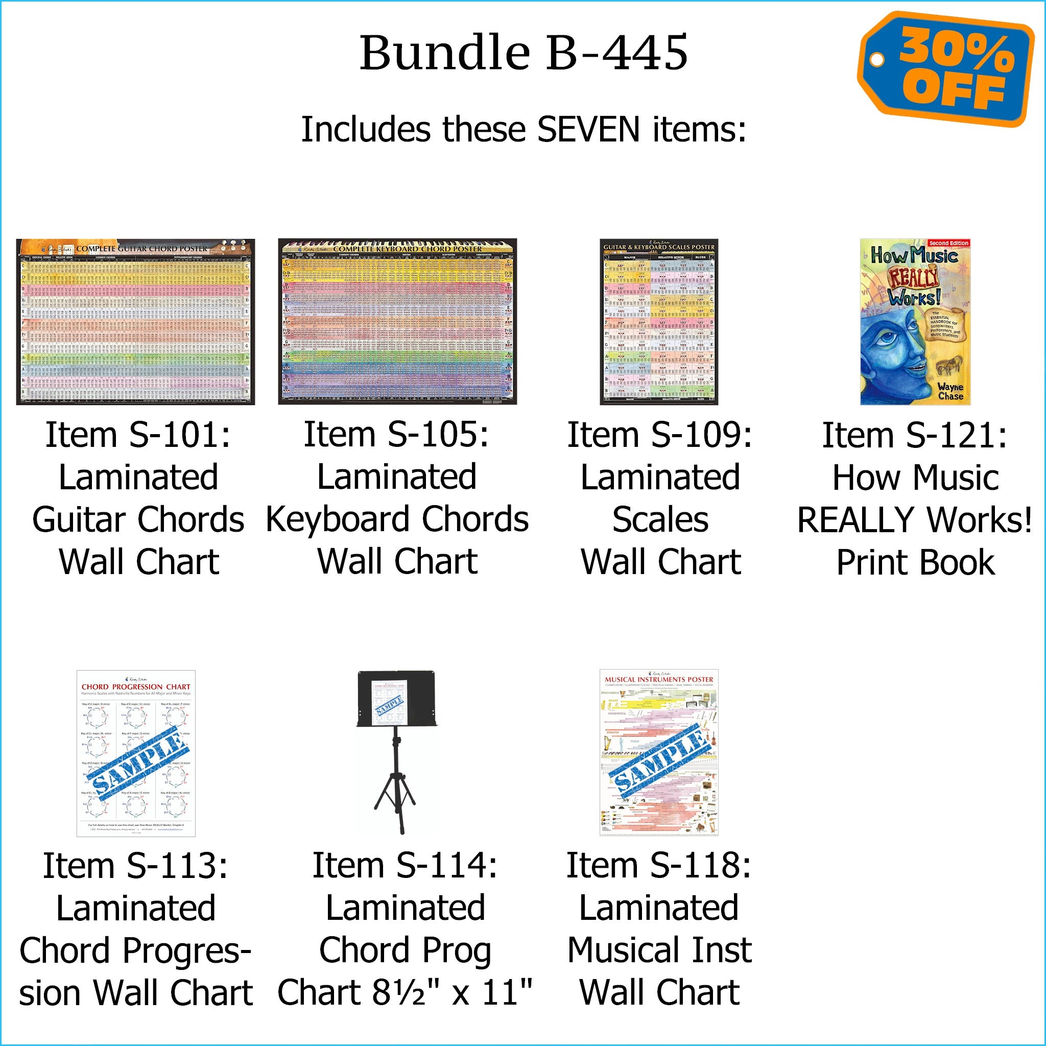 "Bundle B-445: ""How Music REALLY Works! 2nd Edition"" Print Book + FIVE Laminated Wall Posters: Complete Guitar Chords, Complete Keyboard Chords, Scales, Chord Progressions, & Instruments. FREE SHIPPING – USA & Canada."