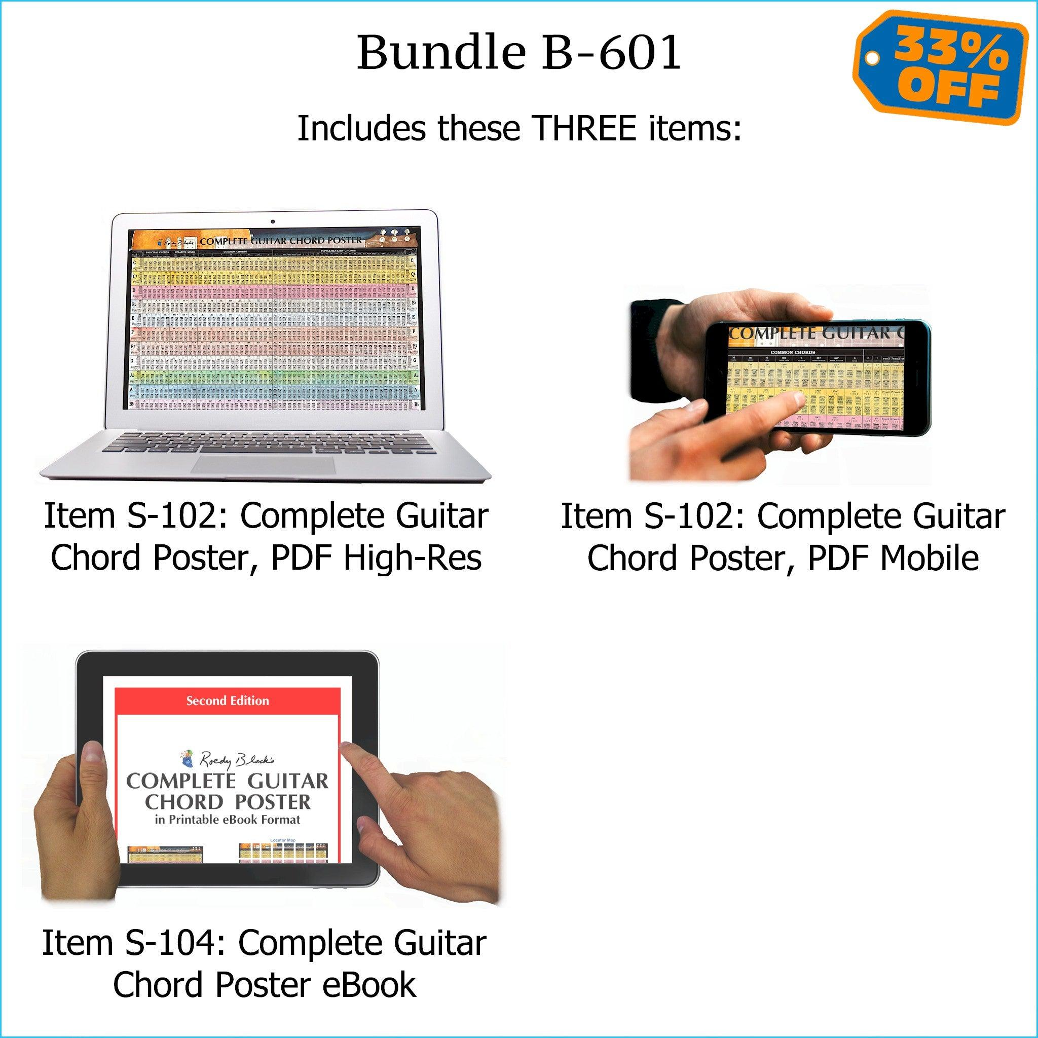 "Bundle B-601 (THREE Items): PRINTABLE ""Complete Guitar Chord Poster"" High Resolution E-Posters for Smartphone / Tablet / Computer, and High Resolution PRINTABLE E-Book. FREE Download Protection."