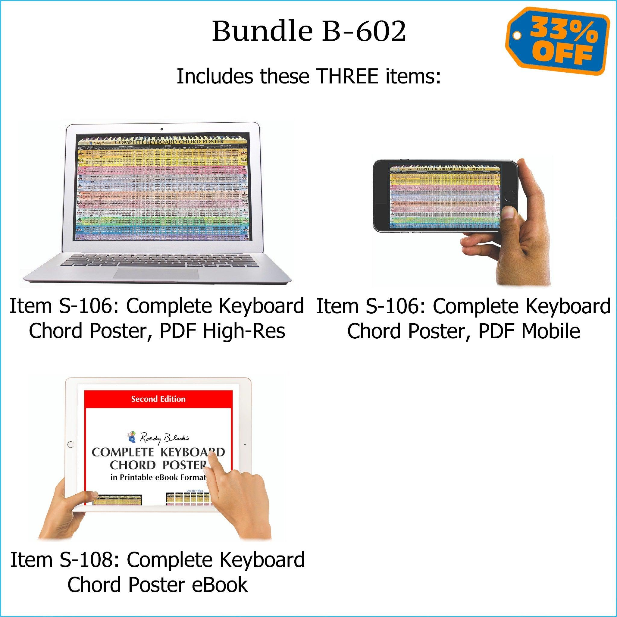 "Bundle B-602 (THREE Items): PRINTABLE ""Complete Keyboard Chord Poster"" High Resolution E-Posters for Smartphone / Tablet / Computer, and High Resolution PRINTABLE E-Book. FREE Download Protection."
