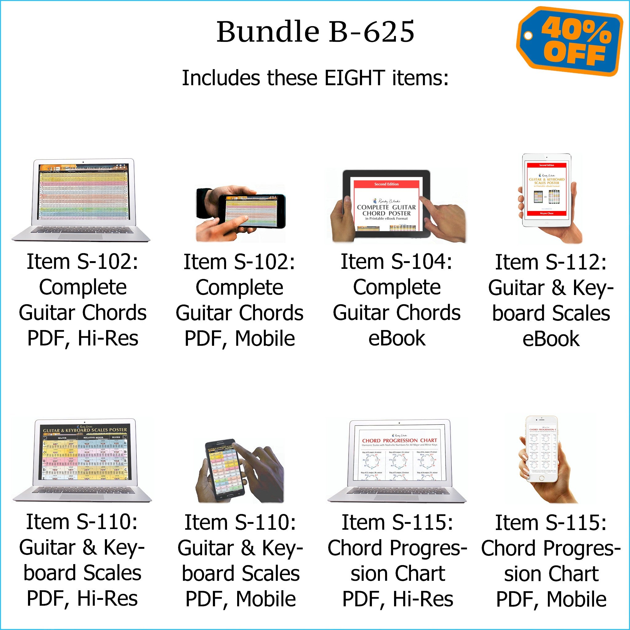 Bundle B-625: Complete Guitar Chords, Scales, Chord Progressions -  E-Posters and Printable E-Books  FREE Download Protection