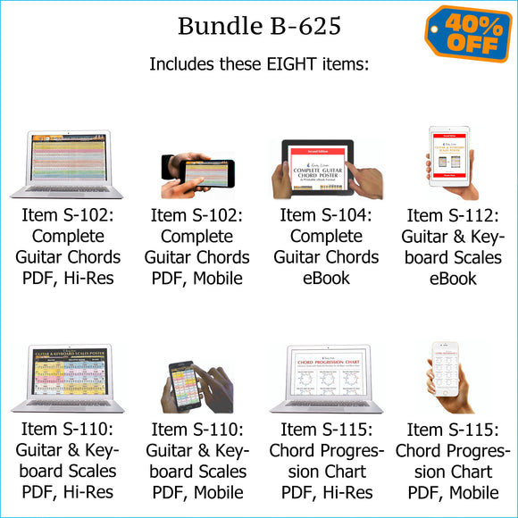 Bundle B-625: Complete Guitar Chords, Scales, Chord Progressions - E-Posters and Printable E-Books. FREE Download Protection.