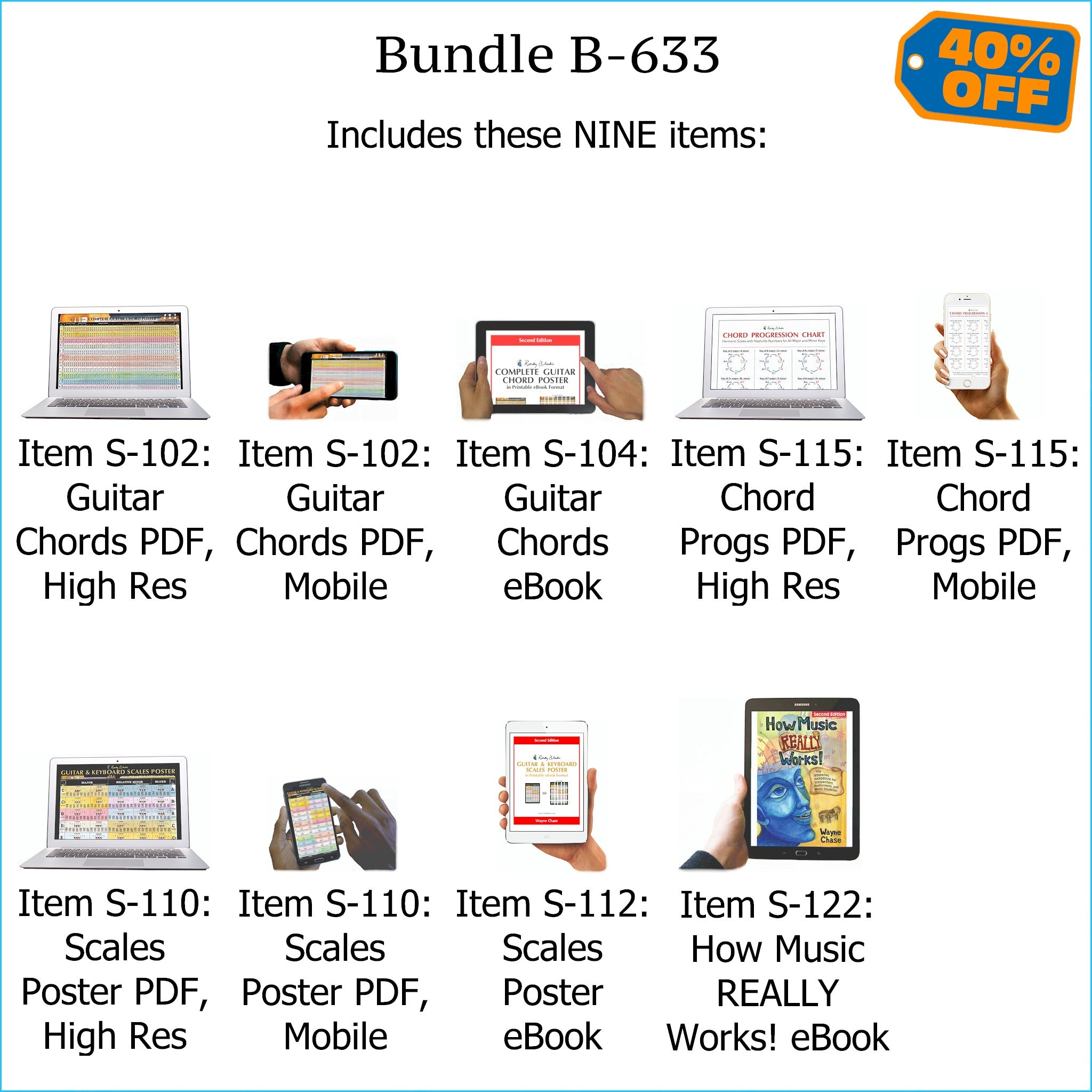 Bundle B-633: How Music REALLY Works! E-Book + Guitar Chords, Chord Progressions, Scales - E-Posters and Printable E-Books. FREE Download Protection.