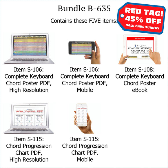 Bundle B-635: Complete Keyboard Chords, Chord Progressions - E-Posters and Printable E-Book. FREE Download Protection.