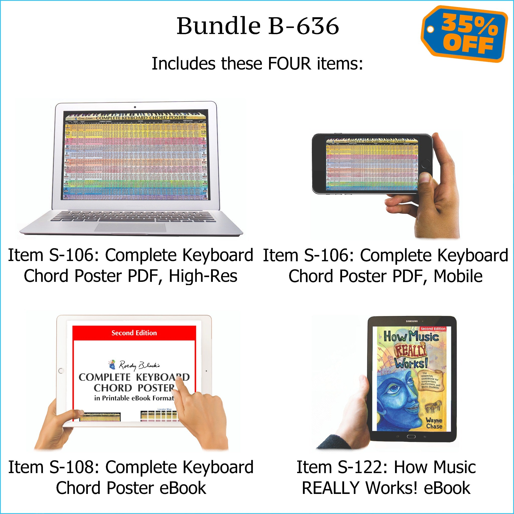 Bundle B-636: How Music REALLY Works! E-Book + Keyboard Chords - E-Posters and Printable E-Book. FREE Download Protection.
