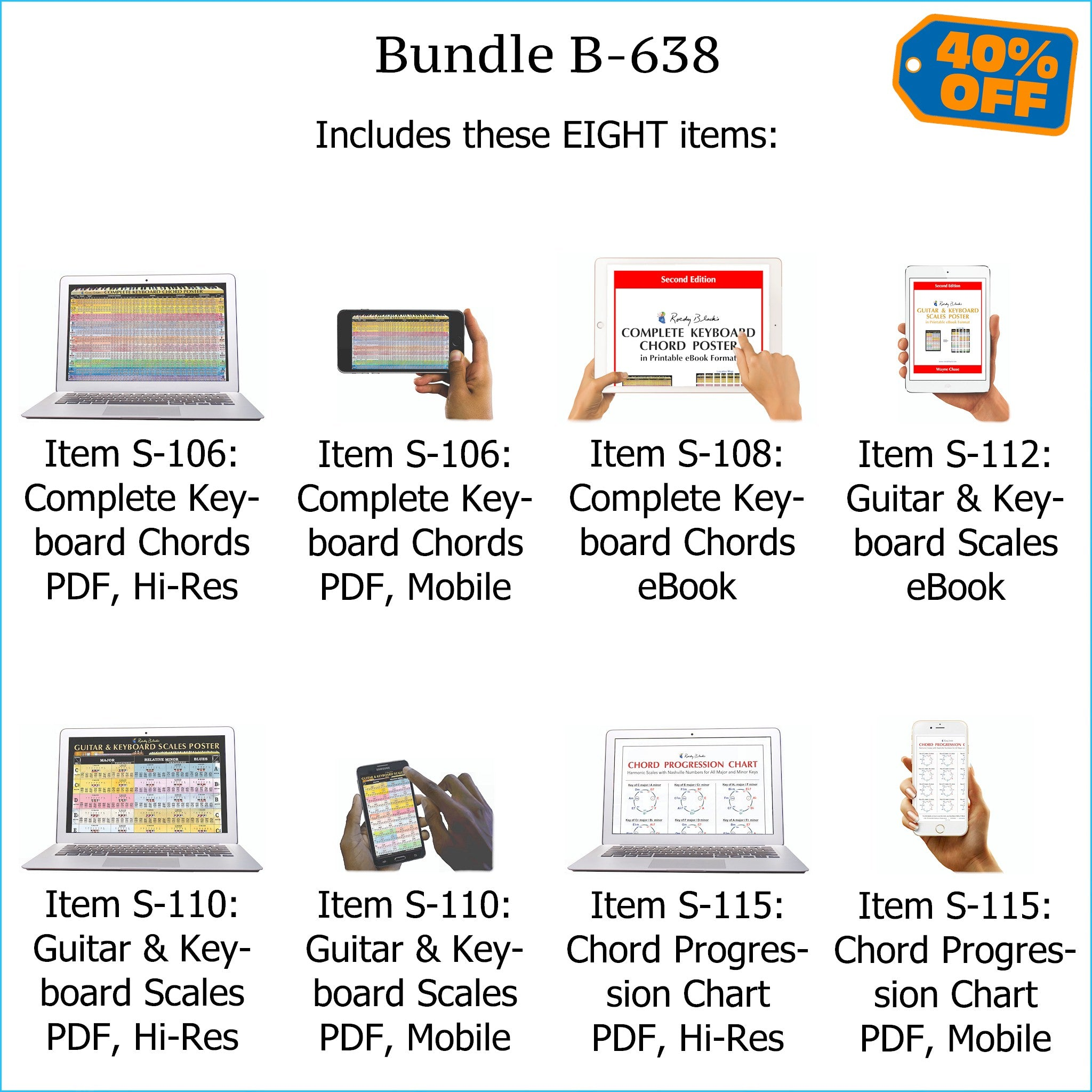 Bundle B-638: Complete Keyboard Chords, Scales, Chord Progressions - E-Posters and Printable E-Books. FREE Download Protection.