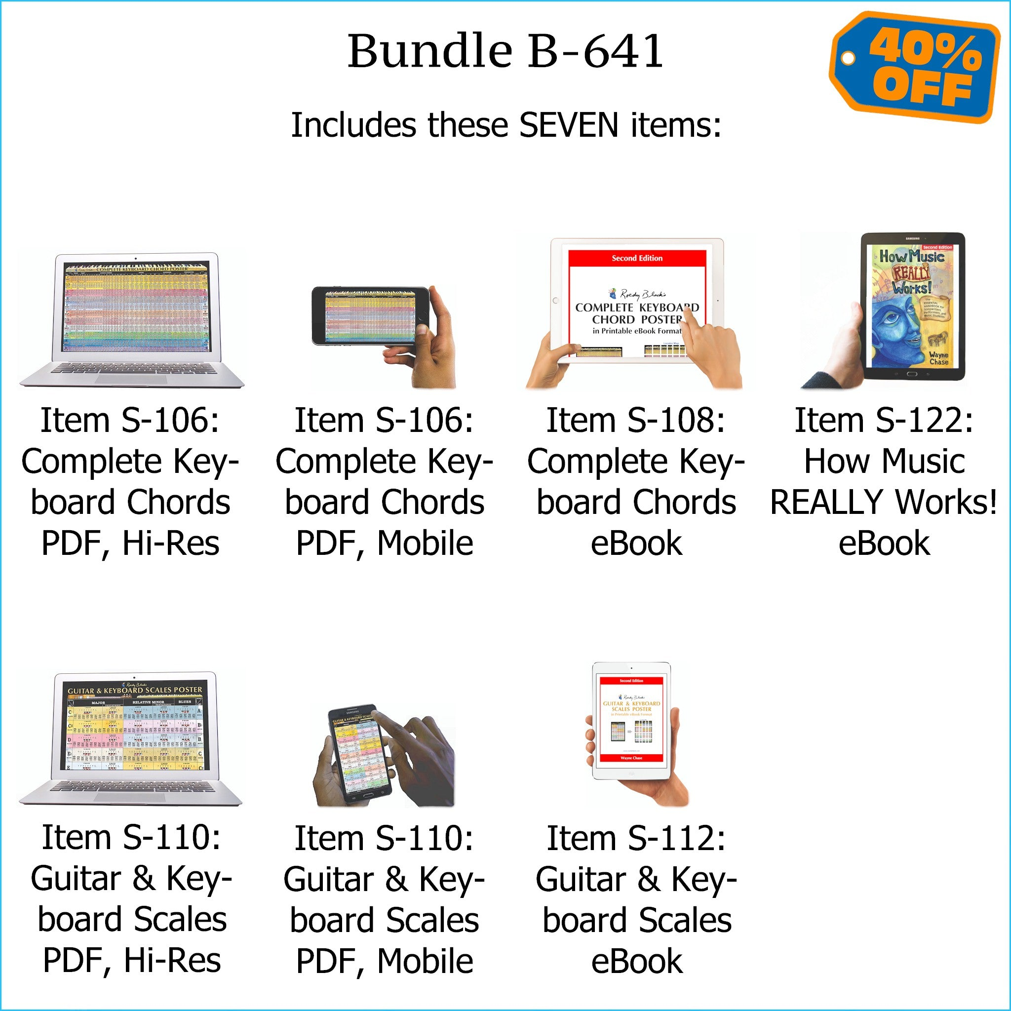 Bundle B-641: How Music REALLY Works! E-Book + Keyboard Chords and Scales - E-Posters and Printable E-Books. FREE Download Protection.