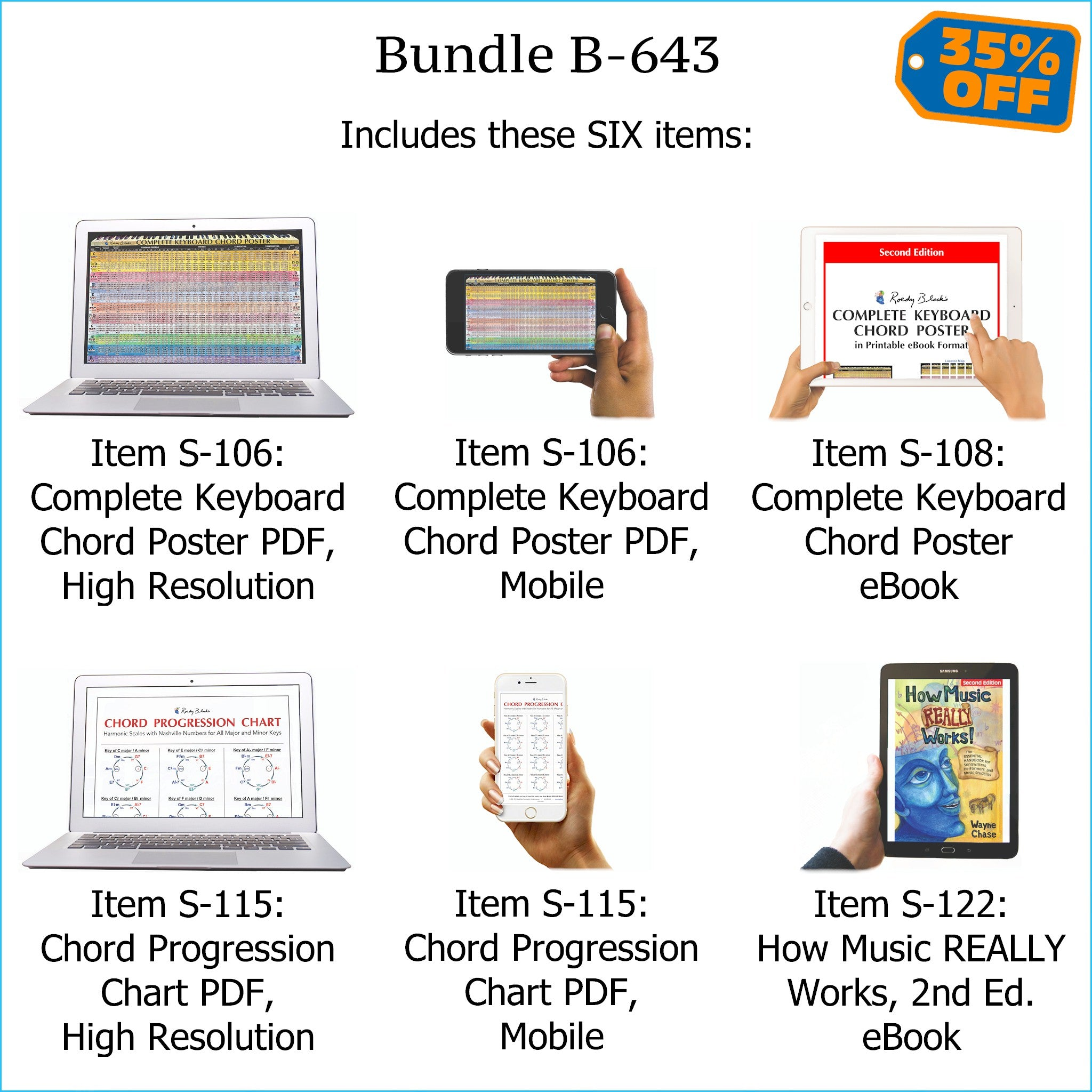 Bundle B-643: How Music REALLY Works! E-Book + Keyboard Chords, Chord Progressions - E-Posters and Printable E-Book. FREE Download Protection.