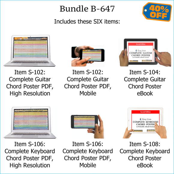 Bundle B-647: Complete Guitar Chords, Complete Keyboard Chords - E-Posters and Printable E-Books. FREE Download Protection.