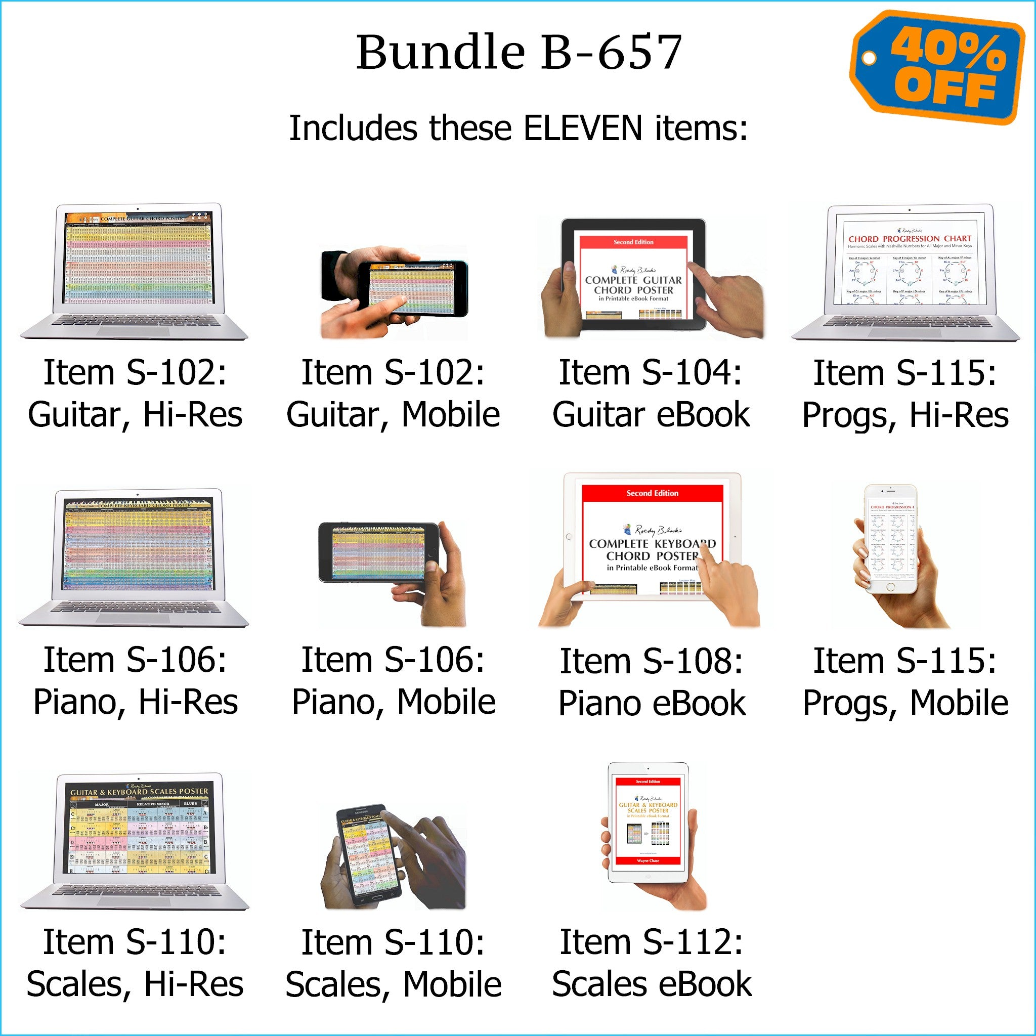 Bundle B-657: Complete Guitar Chords, Complete Keyboard Chords, Scales, Chord Progressions - E-Posters and Printable E-Books. FREE Download Protection.