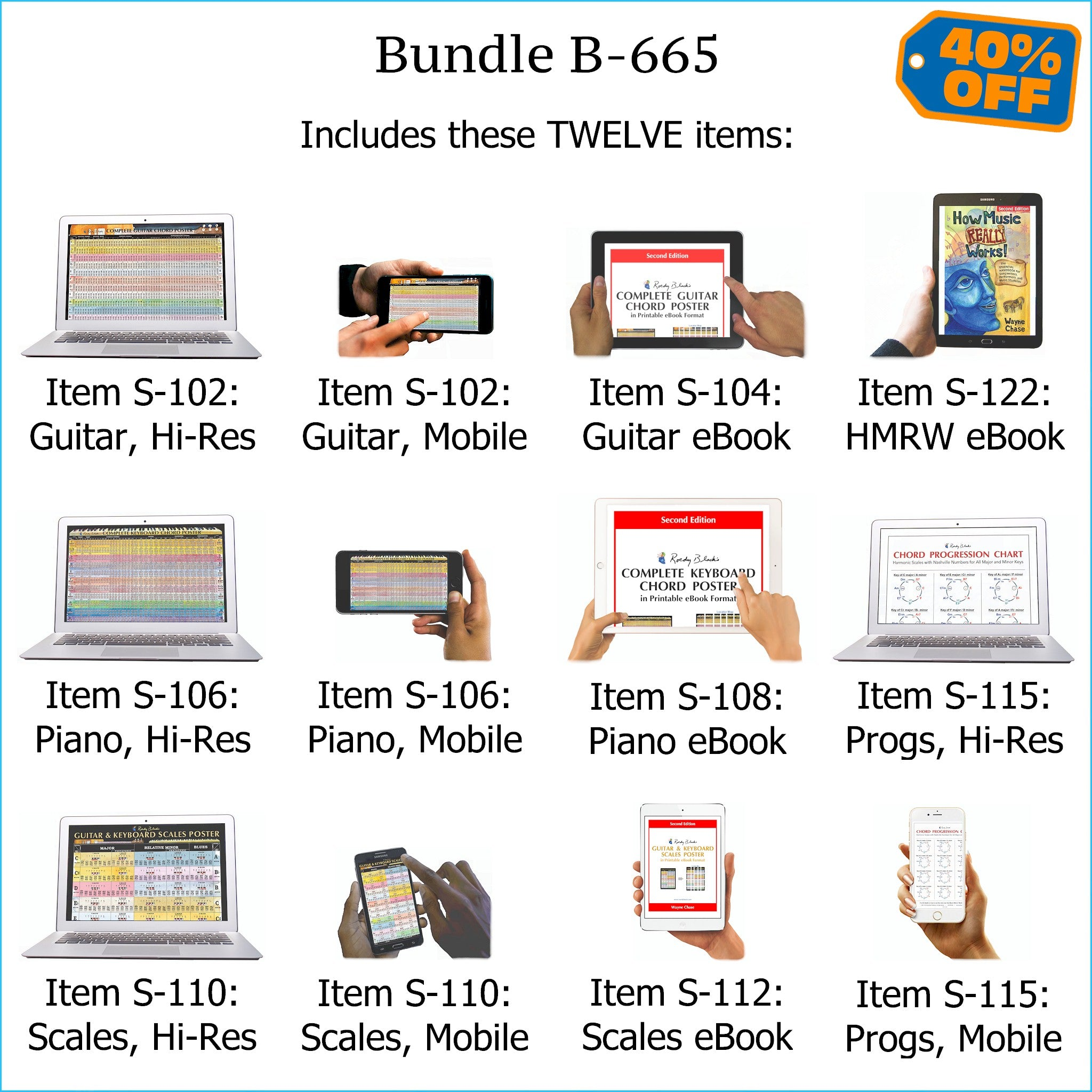 picture about Printable Scales called Package B-665: How Audio Particularly Is effective! E-E book + In depth Guitar Chords, Detailed Keyboard Chords, Scales, Chord Progressions - E-Posters and Printable