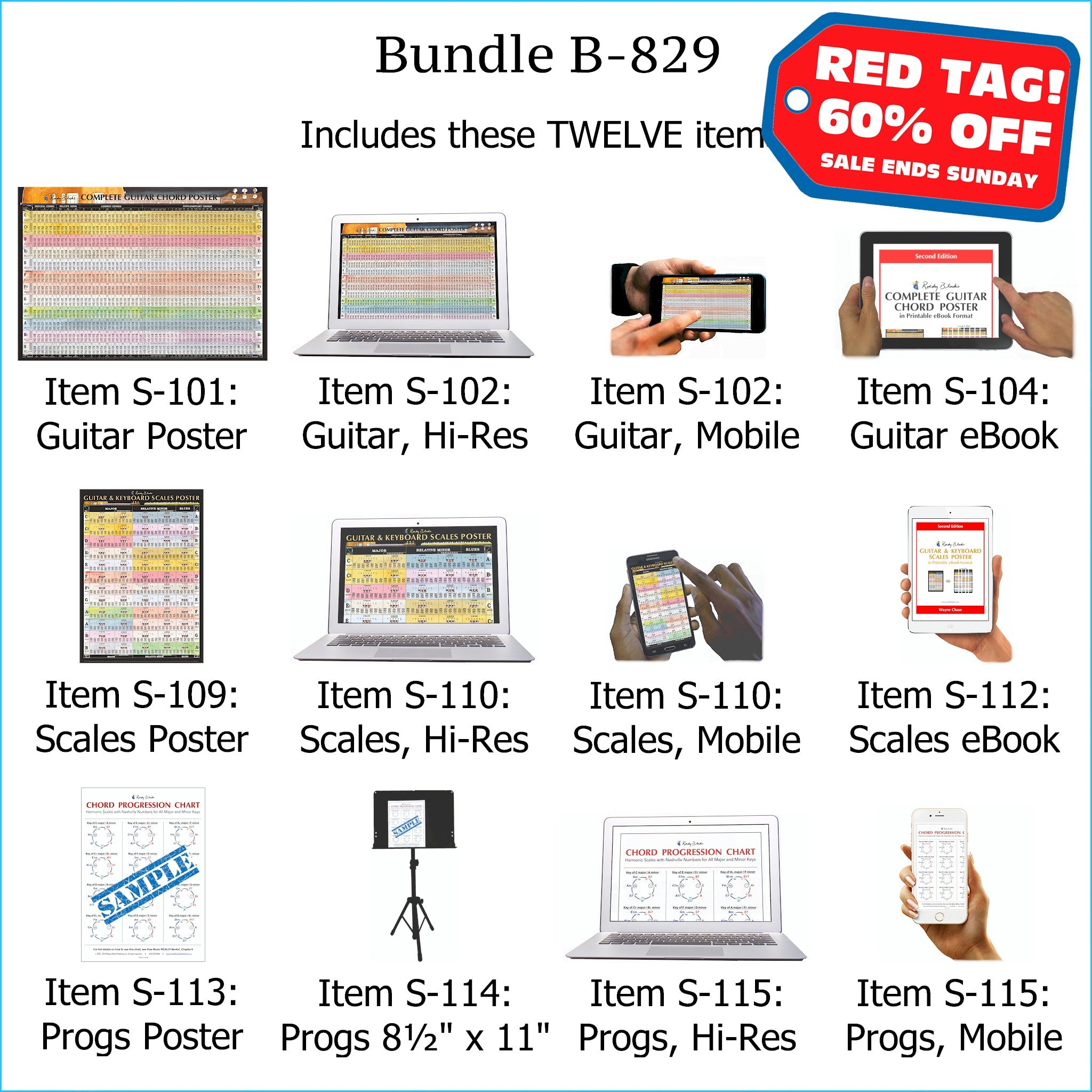 Bundle B-829: Laminated Wall Posters, E-Posters, E-Books - Guitar Chords,  Scales, Chord Progressions  FREE SHIPPING – USA & Canada
