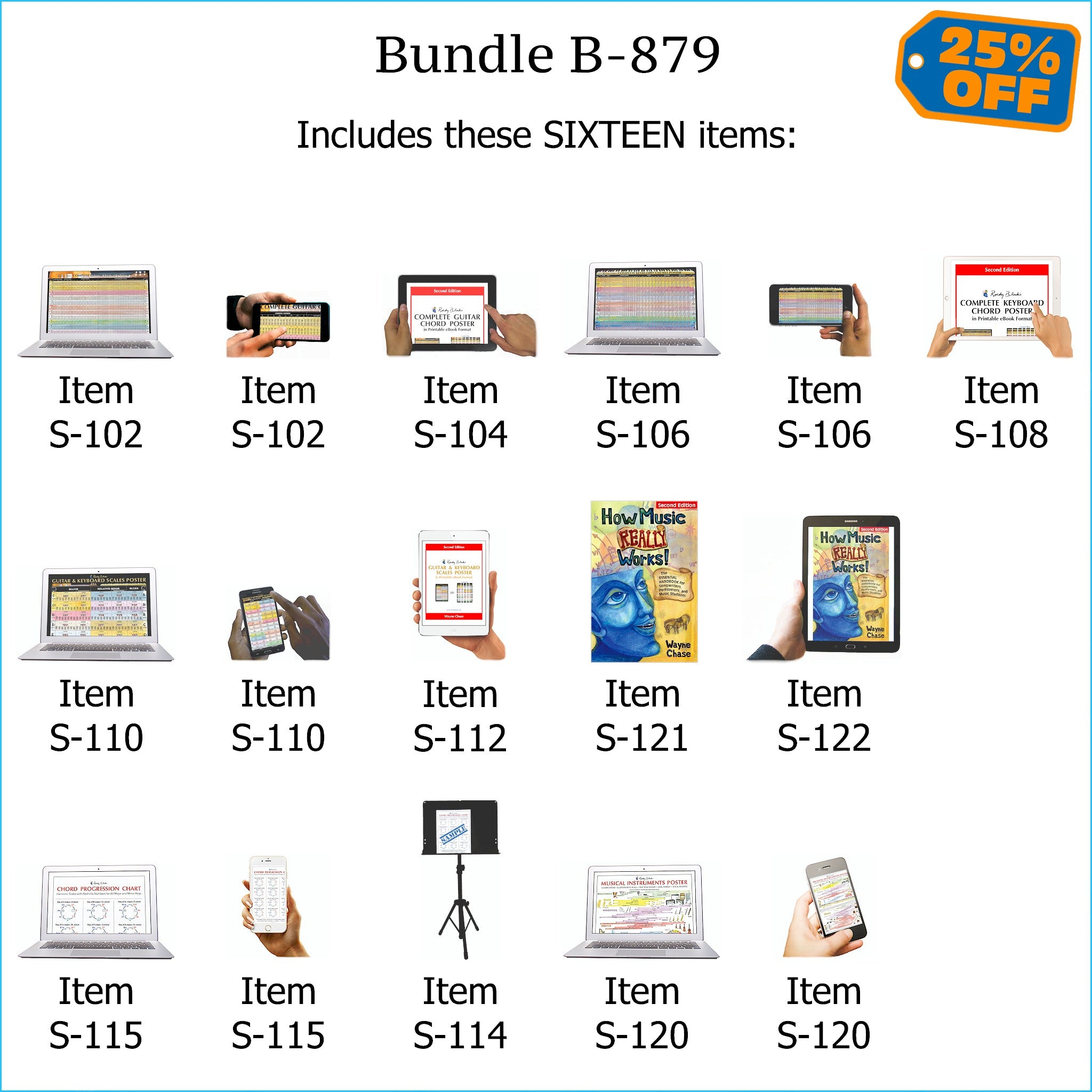 Bundle B-879: How Music REALLY Works! Print Book + E-Book, Chord Progressions, E-Posters - Guitar Chords, Keyboard Chords, Scales, Chord Progressions. FREE SHIPPING – USA & Canada.