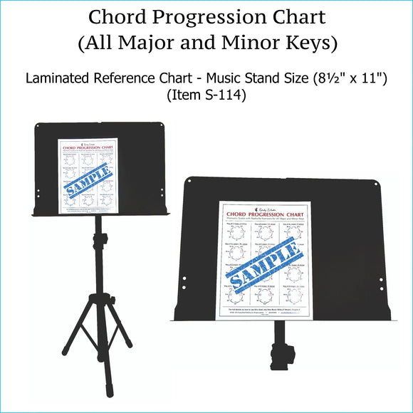 Chord progression chart, music stand size.